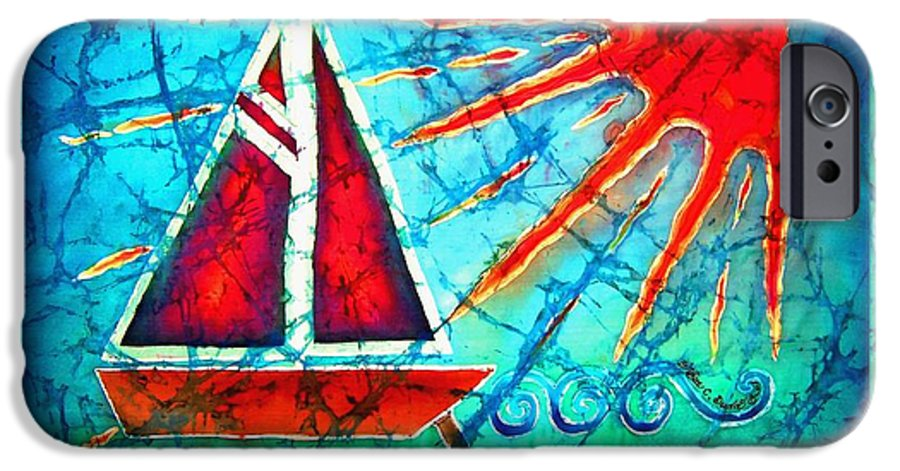 Sailboat IPhone 6 Case featuring the painting Sailboat In The Sun by Sue Duda