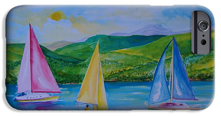 Sailboats IPhone 6 Case featuring the painting Sailboats by Laura Rispoli