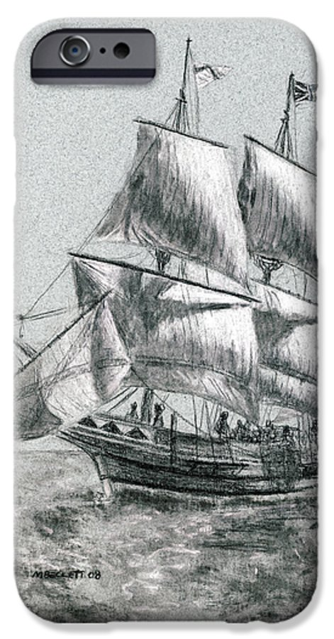 Seascape IPhone 6 Case featuring the drawing Sailing by Michael Beckett