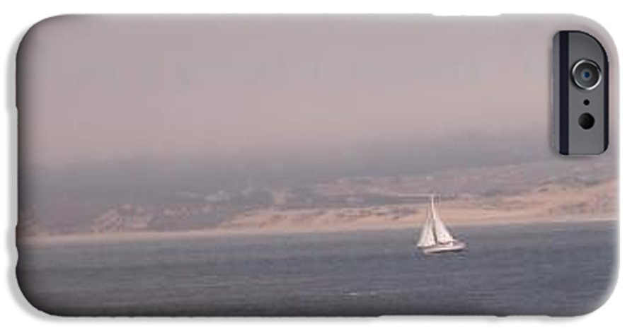 Sailing Sail Sailboat Boating Boat Ocean Pacific Bay Sea Seascape Nature Outdoors Marine Beach IPhone 6 Case featuring the photograph Sailing Solo by Pharris Art