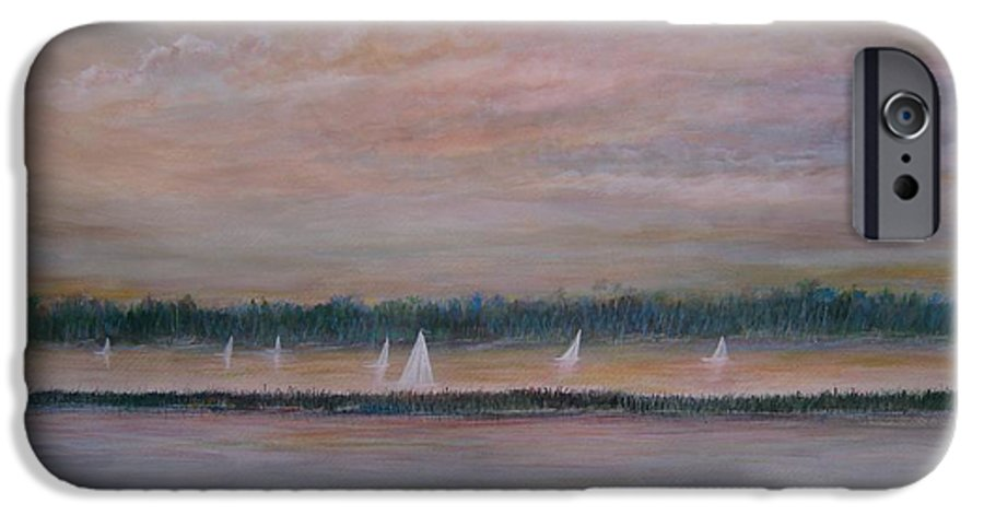 Sailboats; Marsh; Sunset IPhone 6 Case featuring the painting Sails In The Sunset by Ben Kiger