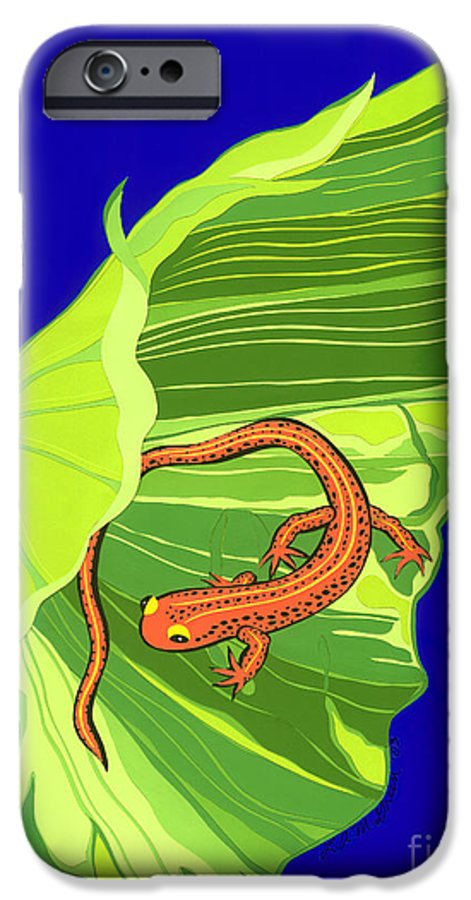 Nature IPhone 6 Case featuring the drawing Salamander by Lucyna A M Green