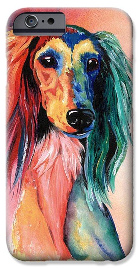 Saluki IPhone 6 Case featuring the painting Saluki Sunset by Kathleen Sepulveda