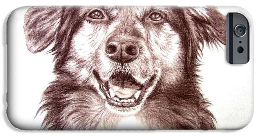 Dog IPhone 6 Case featuring the drawing Sam by Nicole Zeug