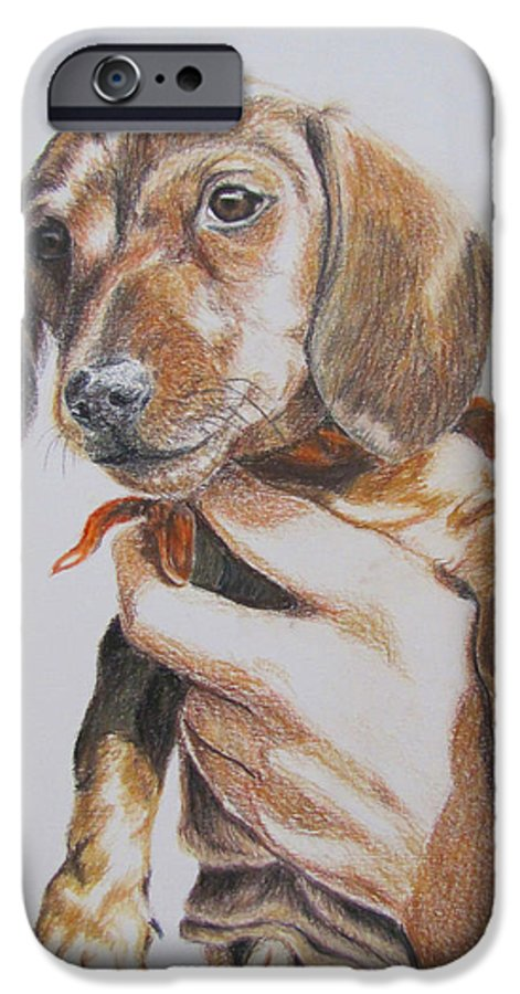 Puppy IPhone 6 Case featuring the drawing Sambo by Karen Ilari