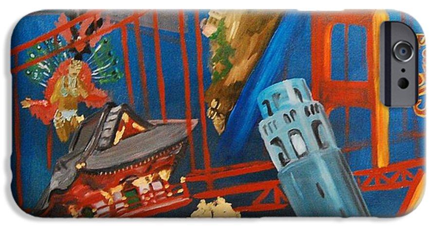 Golden Gate Bridge IPhone 6 Case featuring the painting San Fran by Lauren Luna