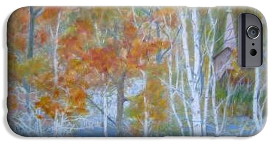 Church; Landscape; Birch Trees IPhone 6 Case featuring the painting Sanctuary by Ben Kiger
