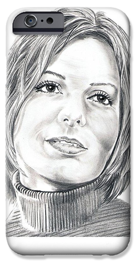 Drawing IPhone 6 Case featuring the drawing Sandra Bullock by Murphy Elliott