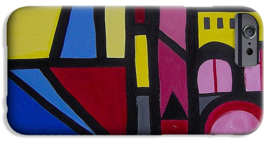 Blue IPhone 6 Case featuring the painting Sans Titre 01 by Michael Puya