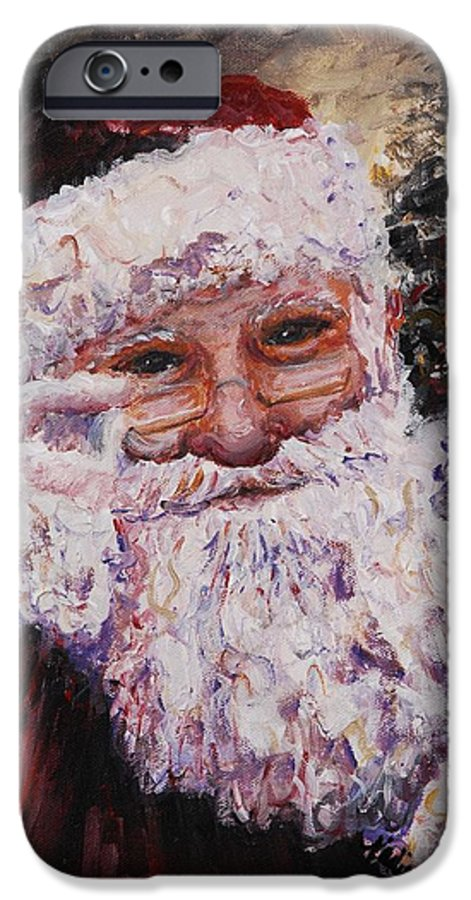 Santa IPhone 6 Case featuring the painting Santa Chat by Nadine Rippelmeyer