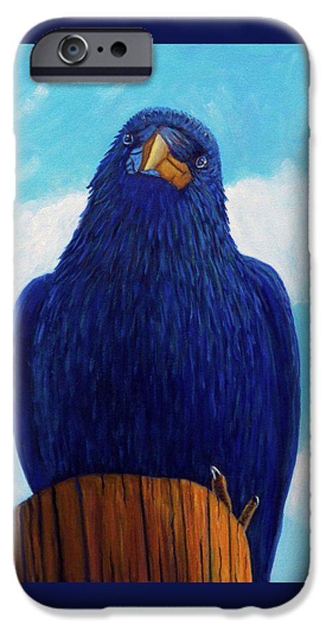 Raven IPhone 6 Case featuring the painting Santa Fe Smile by Brian Commerford