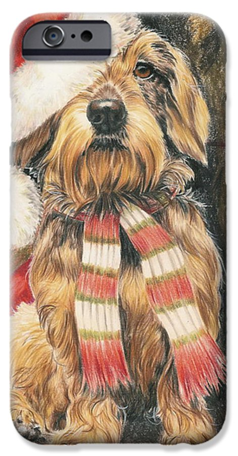 Dogs IPhone 6 Case featuring the drawing Santas Little Yelper by Barbara Keith