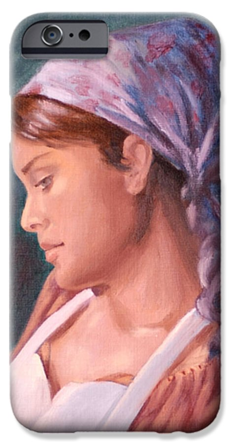 Maid IPhone 6 Case featuring the painting Sarah The Kitchen Maid After Johnnie Liliedahl by Quwatha Valentine
