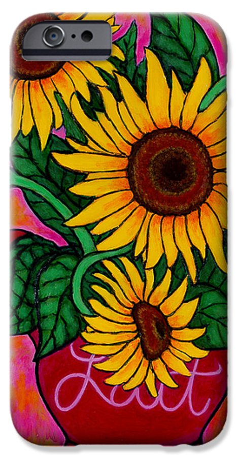 Sunflowers IPhone 6 Case featuring the painting Saturday Morning Sunflowers by Lisa Lorenz