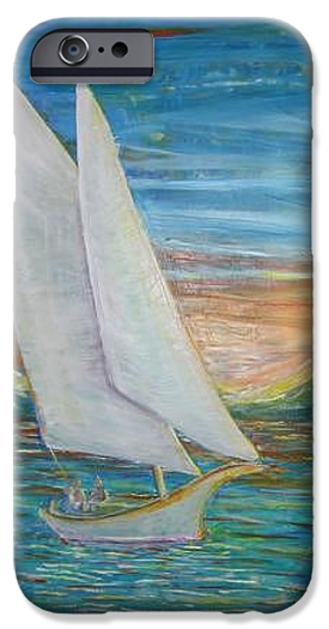Sailboat IPhone 6 Case featuring the painting Saturday Sail by Regina Walsh