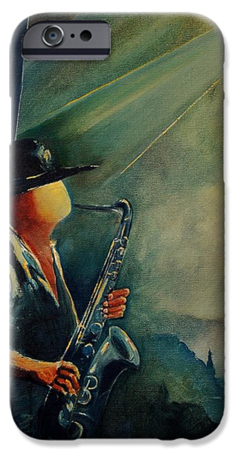Music IPhone 6 Case featuring the painting Sax Player by Pol Ledent