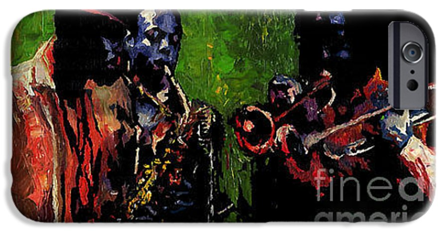 Jazz IPhone 6 Case featuring the painting Saxophon Players. by Yuriy Shevchuk