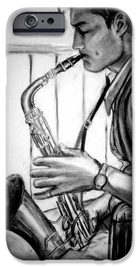 Handsome Man IPhone 6 Case featuring the drawing Saxophone Player by Laura Rispoli