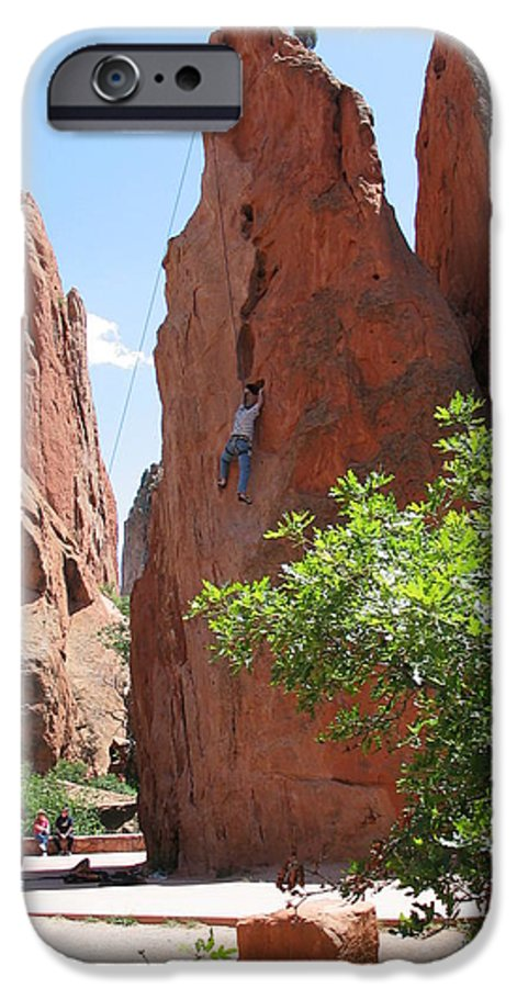 Red Rocks IPhone 6 Case featuring the photograph Scaling Red Rocks by Margaret Fortunato