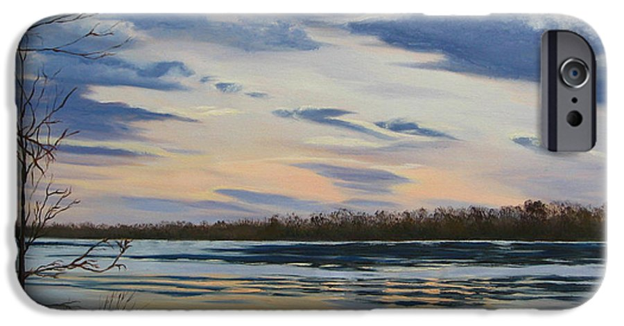 Clouds IPhone 6 Case featuring the painting Scenic Overlook - Delaware River by Lea Novak