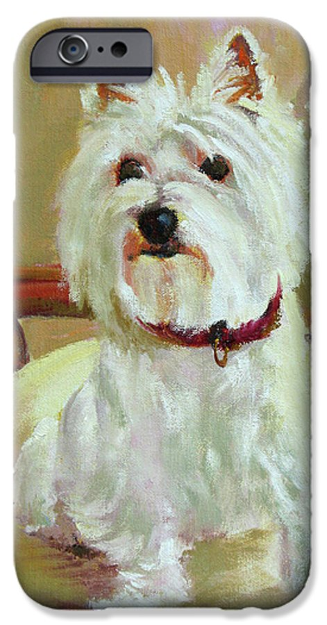 Pet IPhone 6 Case featuring the painting Schatzie by Keith Burgess