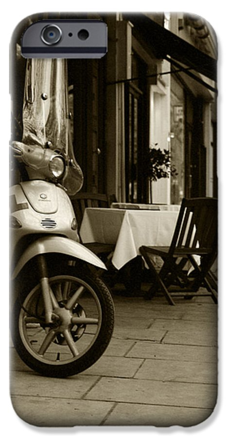 Scooter IPhone 6 Case featuring the photograph Scooter Cafe by Ayesha Lakes