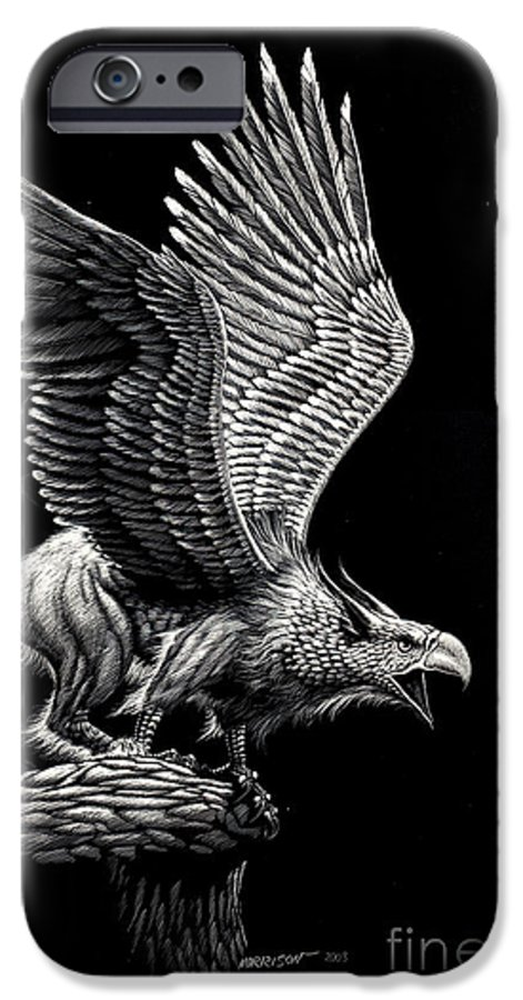 Griffon IPhone 6 Case featuring the drawing Screaming Griffon by Stanley Morrison