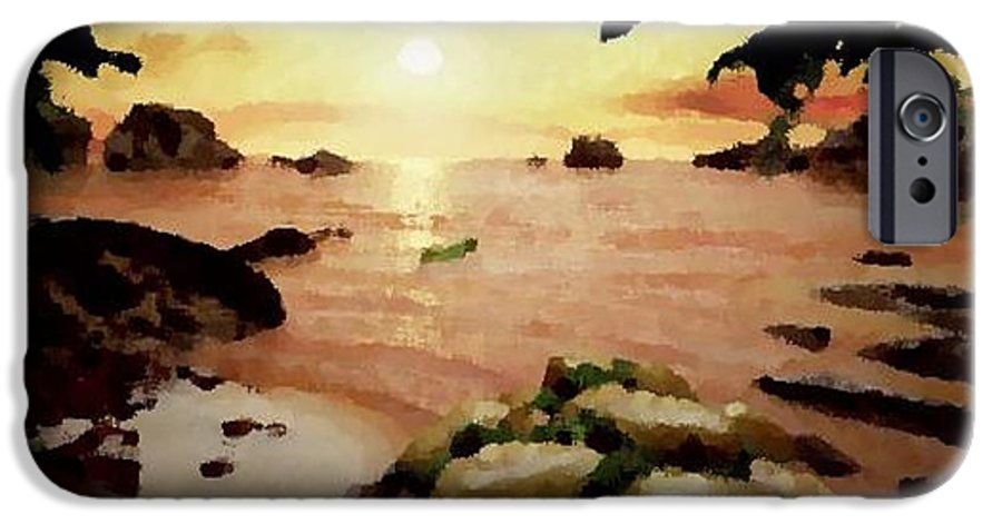 Landscape.coast.shore.trees.stones.sand.water.sunset Reflection.silence.rest.sun.sky. IPhone 6 Case featuring the digital art Sea Shore.sunset by Dr Loifer Vladimir