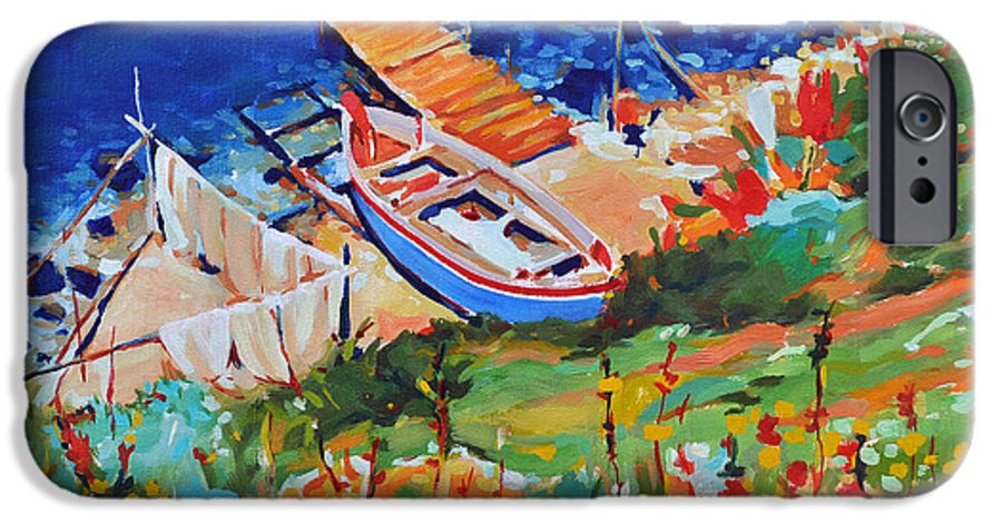 Seascape IPhone 6 Case featuring the painting Seacoast by Iliyan Bozhanov