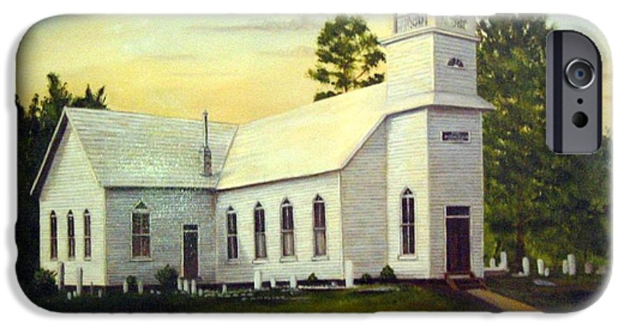 Church IPhone 6 Case featuring the painting Seaford Zion Methodist Church by Anne Kushnick