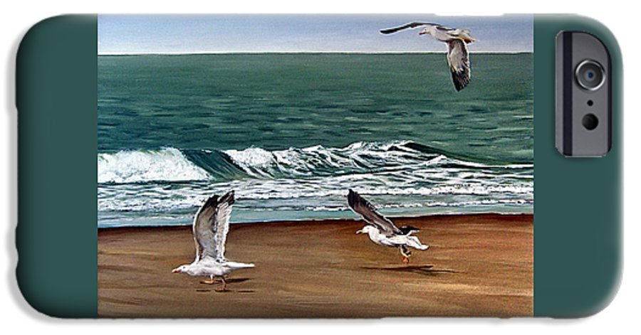 Seascape IPhone 6 Case featuring the painting Seagulls 2 by Natalia Tejera