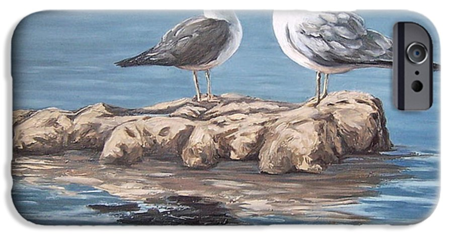 Seagulls Sea Seascape Water Bird IPhone 6 Case featuring the painting Seagulls In The Sea by Natalia Tejera