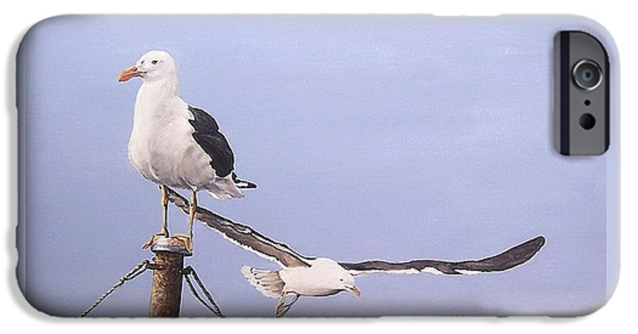 Seascape Gulls Bird Sea IPhone 6 Case featuring the painting Seagulls by Natalia Tejera