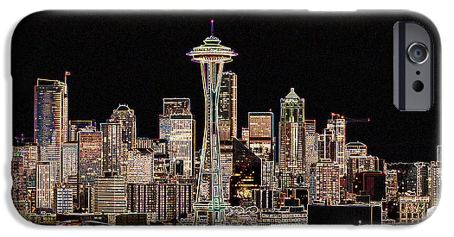 Colorful IPhone 6 Case featuring the photograph Seattle A Glow by Larry Keahey