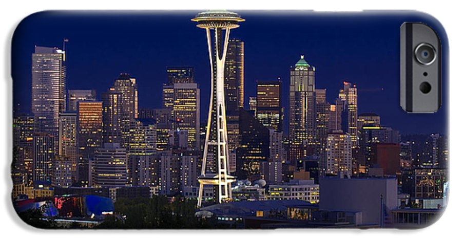 Seattle IPhone 6 Case featuring the photograph Seattle At Night by Larry Keahey