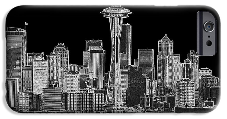 Black And White IPhone 6 Case featuring the photograph Seattle Black And White by Larry Keahey