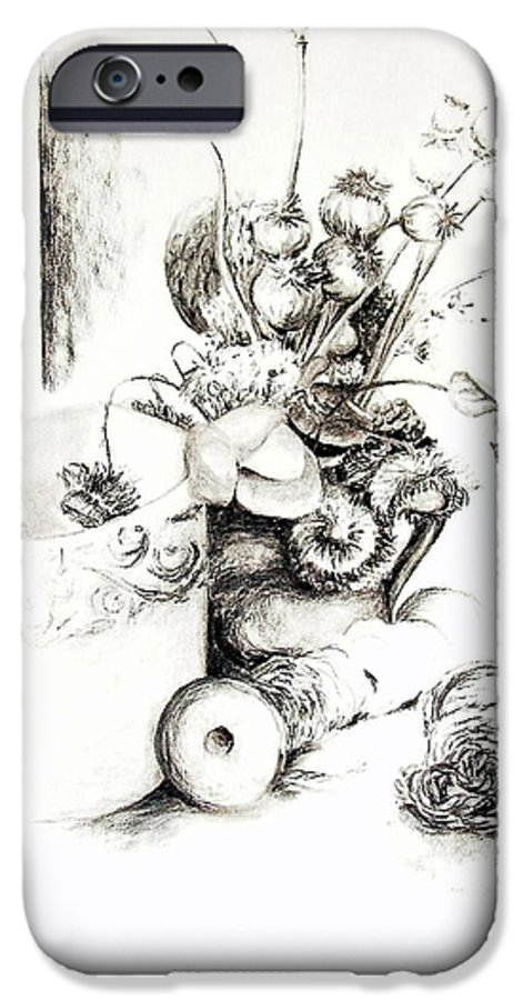 Still Life IPhone 6 Case featuring the drawing Sec by Muriel Dolemieux