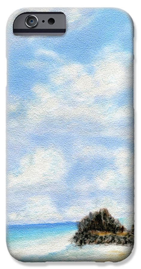 Coastal Decor IPhone 6 Case featuring the painting Secret Beach Sky by Kenneth Grzesik