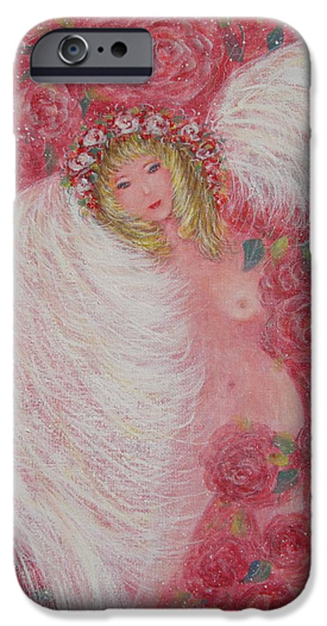 Angel IPhone 6 Case featuring the painting Secret Garden Angel 6 by Natalie Holland