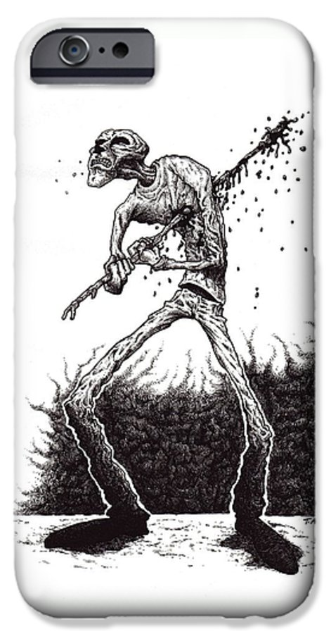 Dark IPhone 6 Case featuring the drawing Self Inflicted by Tobey Anderson