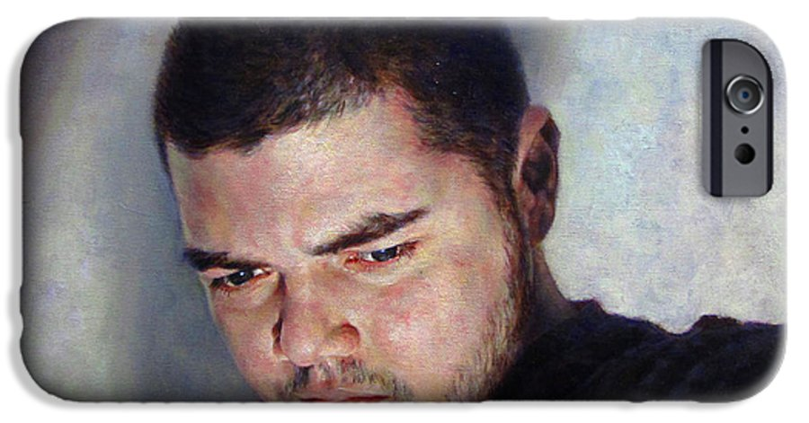 Self IPhone 6 Case featuring the painting Self Portrait W Shadows by Joe Velez