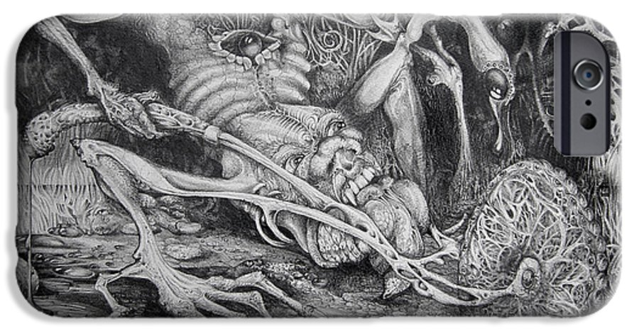 Surrealism IPhone 6 Case featuring the drawing Selfpropelled Beastie Seeder by Otto Rapp