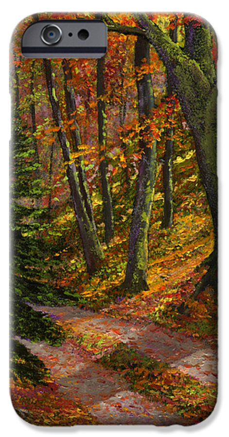 Road In The Woods IPhone 6 Case featuring the painting September Road by Frank Wilson