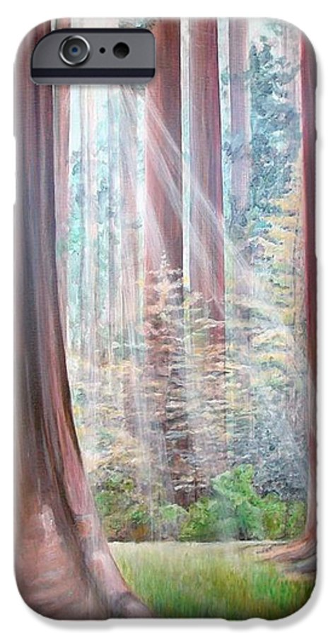 Landscape IPhone 6 Case featuring the painting Sequoia by Muriel Dolemieux