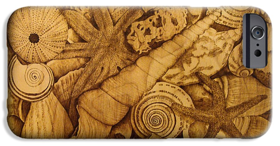 Pyrography; Sepia; Shells; Sea Shells; Starfish; Ocean; Sea; Underwater; Sea Life; IPhone 6 Case featuring the pyrography Settled by Jo Schwartz