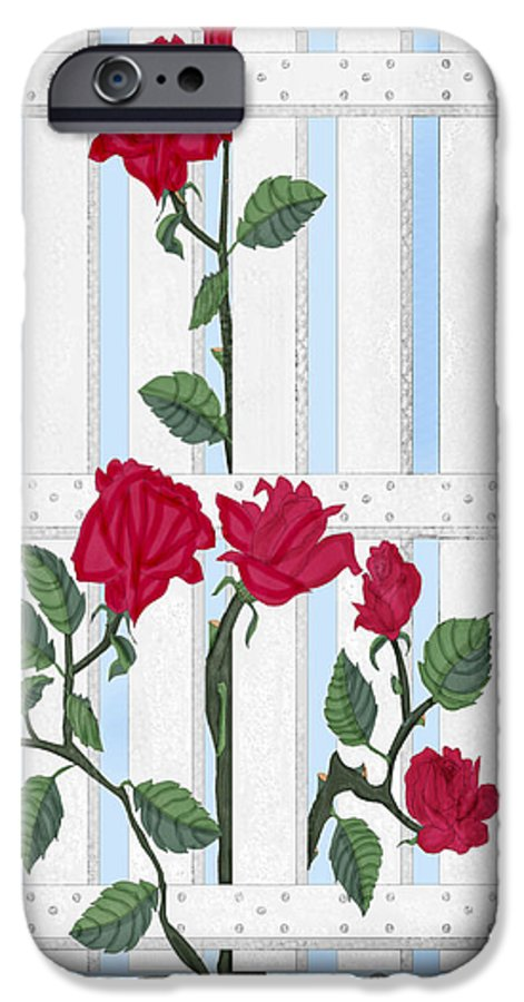 Roses IPhone 6 Case featuring the painting Seven Roses For Mary by Anne Norskog