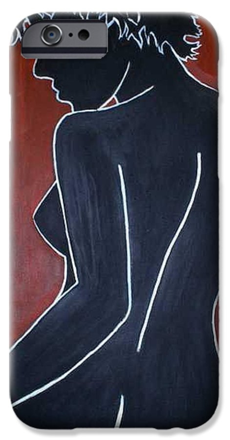 Nude IPhone 6 Case featuring the painting Shadow by Thomas Valentine