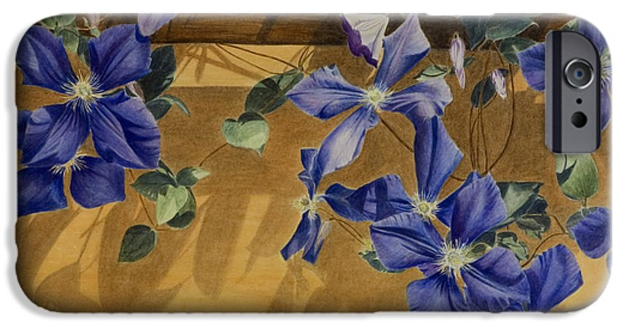Clematis IPhone 6 Case featuring the painting Shadows Dancing by Nik Helbig