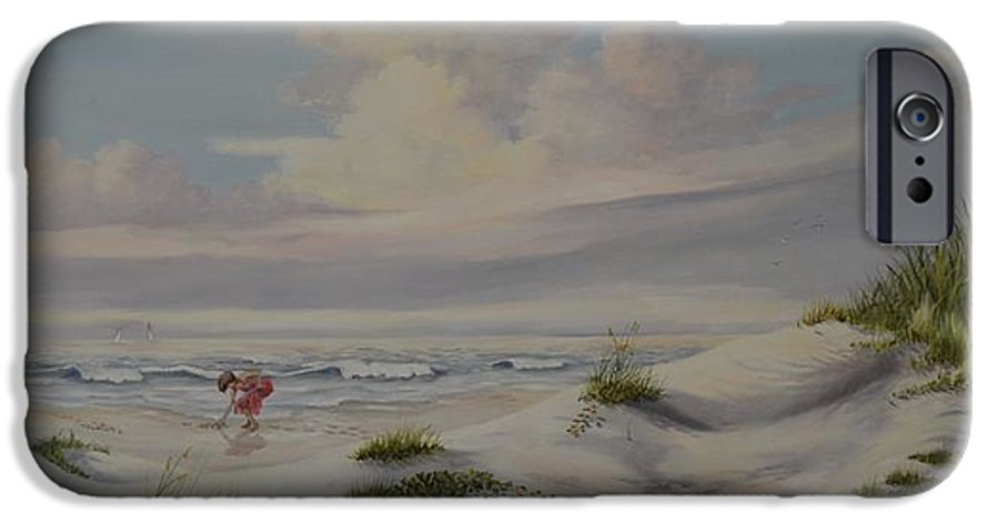 Landscape IPhone 6 Case featuring the painting Shadows In The Sand Dunes by Wanda Dansereau