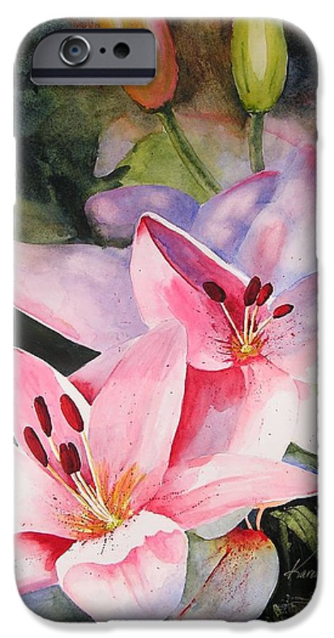 Lilies IPhone 6 Case featuring the painting Shady Ladies by Karen Stark